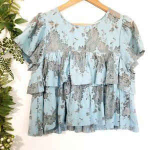 🌼LONDON ROSE BLOUSE《474》blue lace ruffles babydoll short sleeve